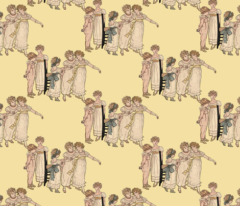 Kate Greenaway Little Dancers    fabric by peacoquettedesigns on Spoonflower - custom fabric