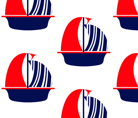 Red Navy White Sail Boat fabric by little_treasures on Spoonflower - custom fabric