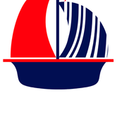 Red Navy White Sail Boat