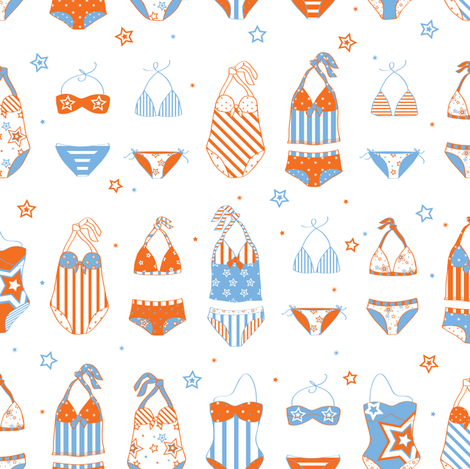 Stars, Stripes & Swimming Blue/Orange - © Lucinda Wei fabric by lucindawei on Spoonflower - custom fabric