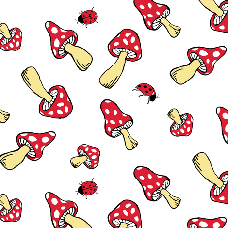 Toadstools and Ladybugs fabric by jmckinniss on Spoonflower - custom fabric