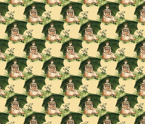 Kate Greenaway ~ Parasol Sweetling fabric by peacoquettedesigns on Spoonflower - custom fabric