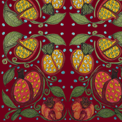 Pomegrantes_and_Leaves_Deep_Red_2