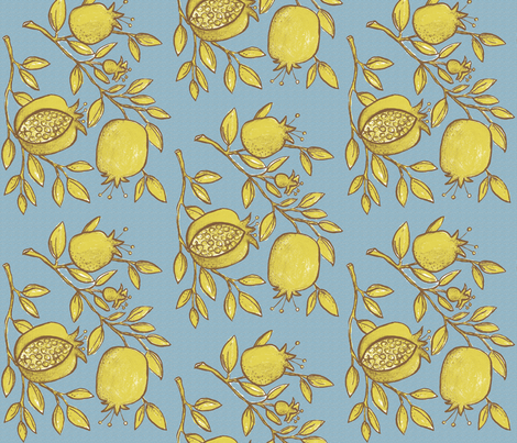 Pomegranate Branches! (slate sky, coffee & deep lime) fabric by pattyryboltdesigns on Spoonflower - custom fabric