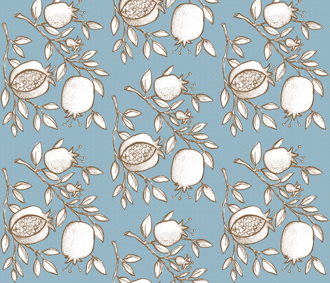 Pomegranate Branches! (slate sky, coffee & white) fabric by pattyryboltdesigns on Spoonflower - custom fabric