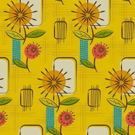 Mid Century Modern Dandelions ~ (Mustard) fabric by retrorudolphs on Spoonflower - custom fabric