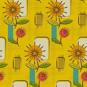 Mid Century Modern Dandelions ~ (Mustard)