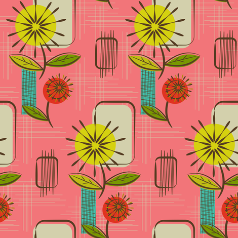 Mid Century Modern Dandelions ~ (Salmon) fabric by retrorudolphs on Spoonflower - custom fabric