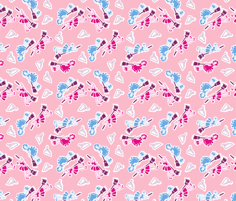 Sweeping - Pink fabric by tuppencehapenny on Spoonflower - custom fabric
