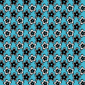 Graphic Flora - turquoise-ch