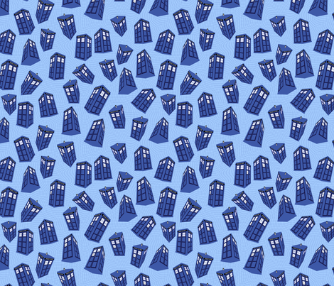 Doctor Who - spinning tardis on light blue fabric by spacefem on Spoonflower - custom fabric