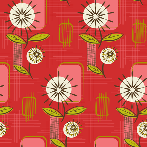 Mid Century Modern Dandelions ~ (Pomegranate) fabric by retrorudolphs on Spoonflower - custom fabric