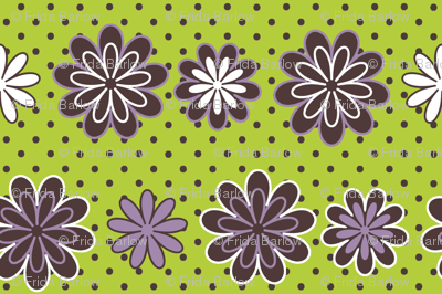 Wild for Daisies in Chartreuse and Lavender