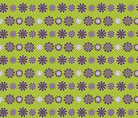 Wild for Daisies in Chartreuse and Lavender fabric by fridabarlow on Spoonflower - custom fabric