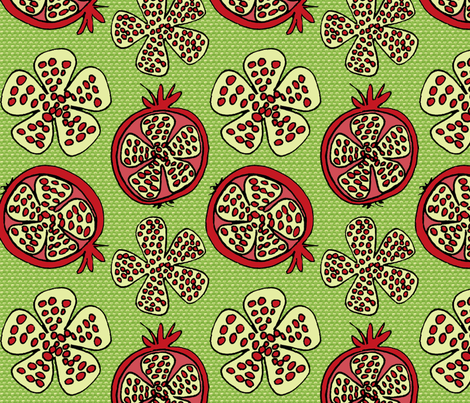 Pomegranate Fruit - green texture fabric by holly_helgeson on Spoonflower - custom fabric