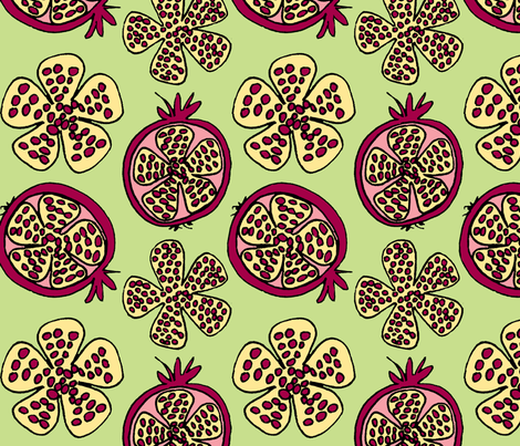 pomegranate fruit pink fabric by holly_helgeson on Spoonflower - custom fabric