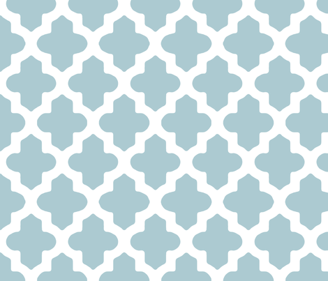 Moroccan Quatrefoil in Light Blue fabric by fridabarlow on Spoonflower - custom fabric