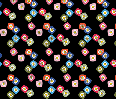 Granny Squares on Black fabric by heathermann on Spoonflower - custom fabric