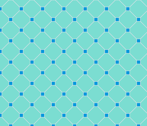 floor tiles - turquoise blue fabric by gingerme on Spoonflower - custom fabric