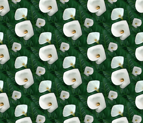 Calla lilies in foliage fabric by hannafate on Spoonflower - custom fabric