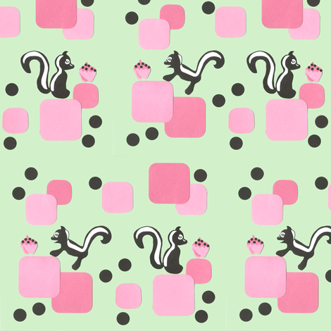 Retro 50's Skunk & Cupcake print fabric by scoutmom131 on Spoonflower - custom fabric