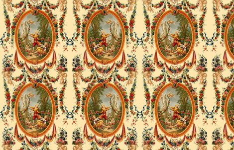 Rococo Swingers ~ Cream  ~ Medium fabric by peacoquettedesigns on Spoonflower - custom fabric