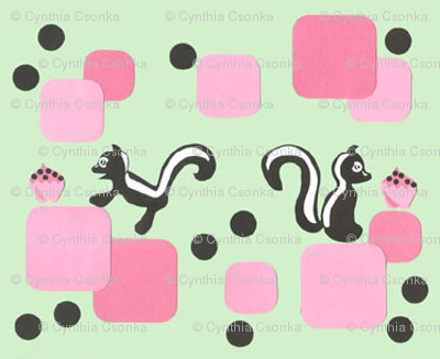 RETRO 50'S SKUNK & CUPCAKE small print