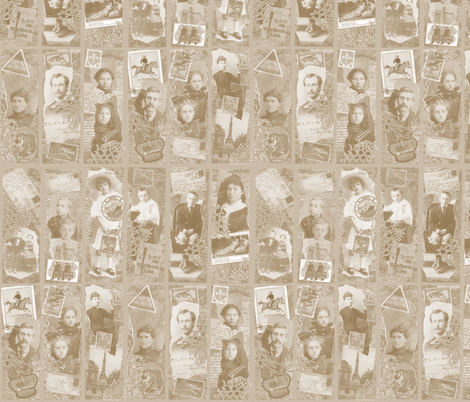 Adopted Ancestors (faded sepia) fabric by jenithea on Spoonflower - custom fabric