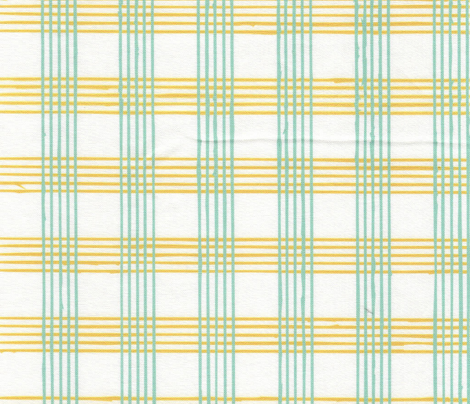 music score plaid - mint mustard