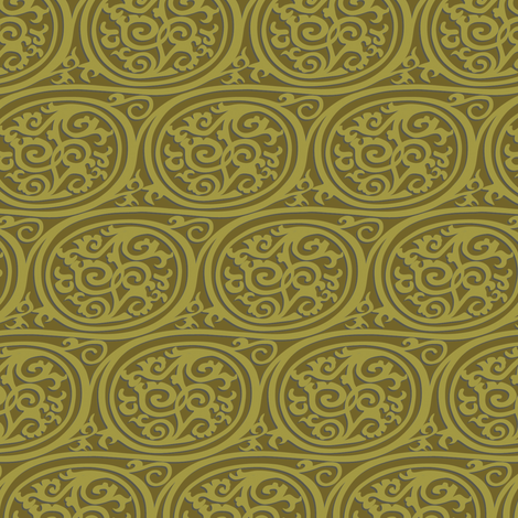 Curlyswirl (olive) fabric by bippidiiboppidii on Spoonflower - custom fabric