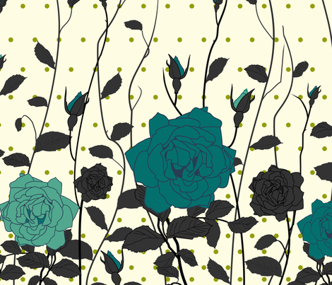 The Blue Rose fabric by candyjoyce on Spoonflower - custom fabric