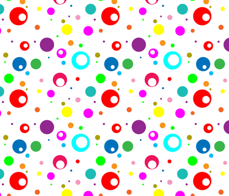 Rainbow Dots on White fabric by aftermyart on Spoonflower - custom fabric