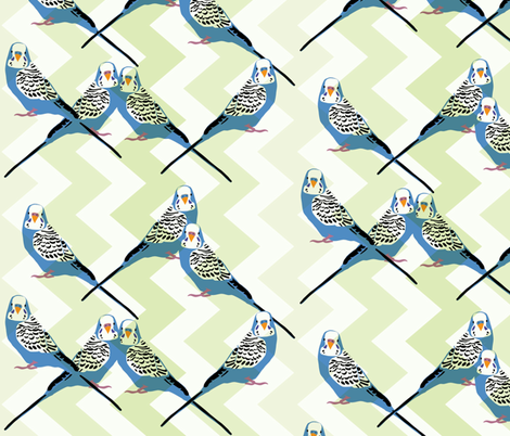 Parakeets Looking at You - Blue - Green Chevron Background