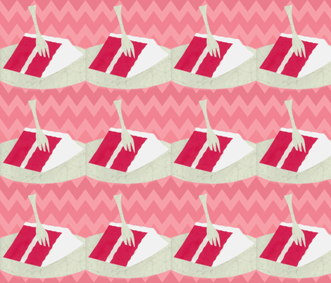 Red Velvet -Chevron fabric by owlandchickadee on Spoonflower - custom fabric