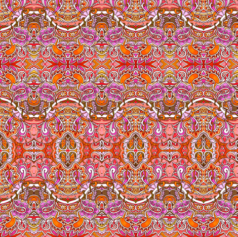 Orange Paisley Sine Wave Horizontal Stripe fabric by edsel2084 on Spoonflower - custom fabric