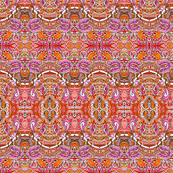 Orange Paisley Sine Wave Horizontal Stripe