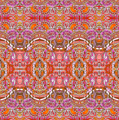 Orange Paisley Sine Wave Horizontal Stripe fabric by edsel2084 on Spoonflower - custom fabric