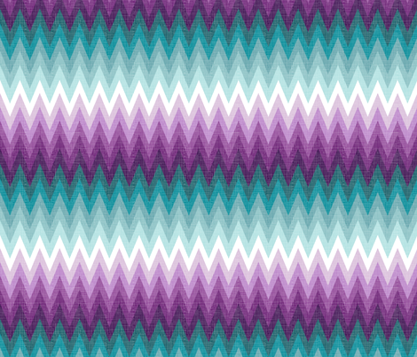 Ombre zig zags plum + teal fabric by veritymaddox on Spoonflower - custom fabric