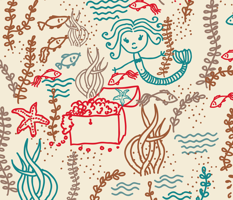 cute mermaids fabric by anastasiia-ku on Spoonflower - custom fabric