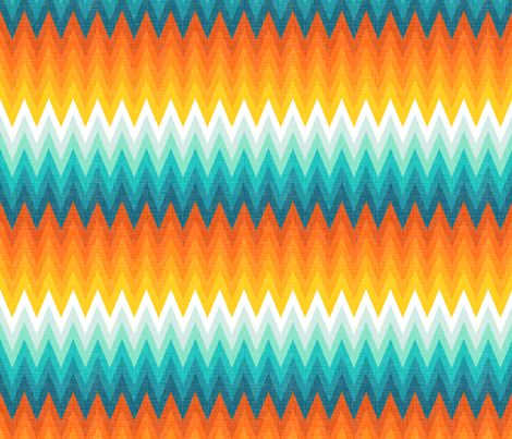 Ombre zig zag orange + aqua fabric by veritymaddox on Spoonflower - custom fabric