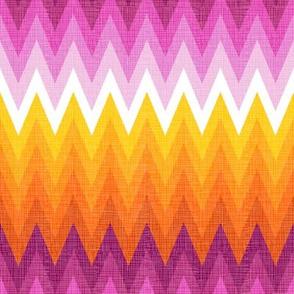 Ombre zig zag orange + pink
