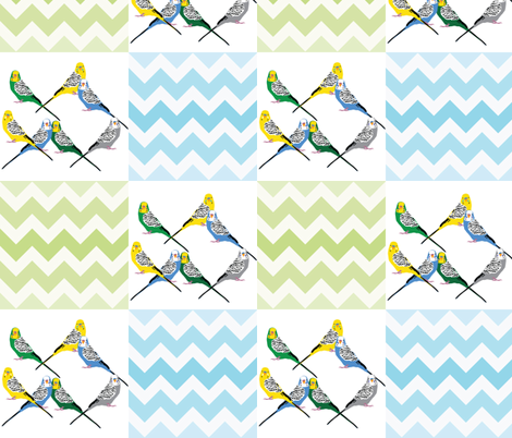 chevron-parakeets-multi fabric by owlandchickadee on Spoonflower - custom fabric