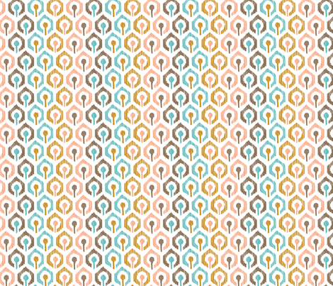 Honeycomb IKAT - White fabric by pattysloniger on Spoonflower - custom fabric