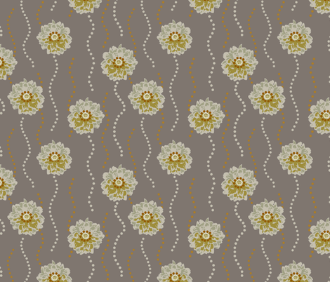 Dancing Blooms - Sunshine & Pewter fabric by dianef on Spoonflower - custom fabric