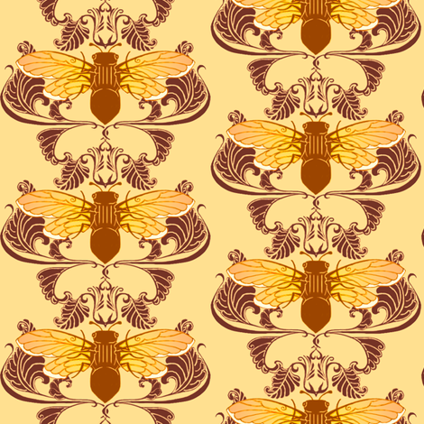Autum Cicada Damsask fabric by redsixwing on Spoonflower - custom fabric