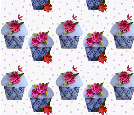 Cut flowers and cupcakes fabric by vo_aka_virginiao on Spoonflower - custom fabric
