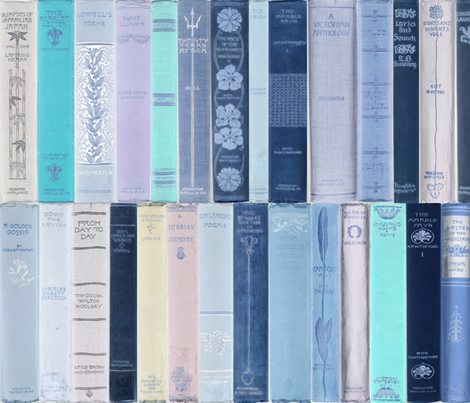 Madame Fancypantaloons' Instant Library Bindings ~ Blue fabric by peacoquettedesigns on Spoonflower - custom fabric