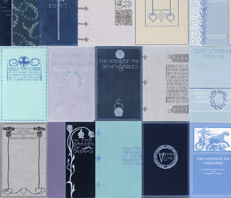 Madame Fancypantaloons' Instant Library ~ Blue fabric by peacoquettedesigns on Spoonflower - custom fabric