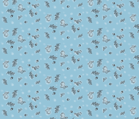 bunny and squirrel on soft blue