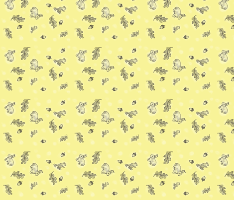 bunny and squirrel on soft yellow
